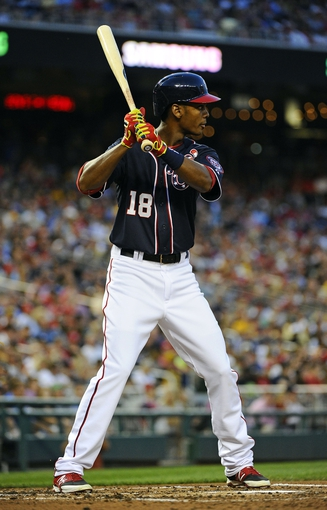 Aug 15, 2014; Washington, DC, USA; Washington Nationals right fielder Michael Taylor (18) at bat against the Pittsburgh Pirates during the second at Nationals Park. Mandatory Credit: Brad Mills-USA TODAY Sports