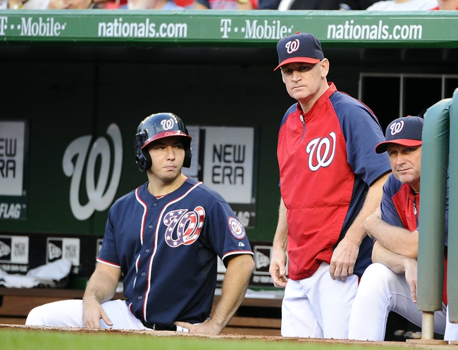 Aug 15, 2014; Washington, DC, USA; Washington Nationals manager Matt Williams (9) in the dugout against the Pittsburgh Pirates during the first at Nationals Park. Mandatory Credit: Brad Mills-USA TODAY Sports