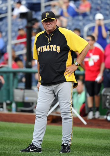 Aug 15, 2014; Washington, DC, USA; Pittsburgh Pirates manager Clint Hurdle (13) on the field during batting practice against the Washington Nationals at Nationals Park. Mandatory Credit: Brad Mills-USA TODAY Sports