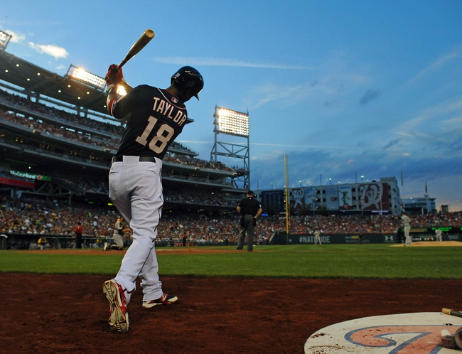 Aug 15, 2014; Washington, DC, USA; Washington Nationals right fielder Michael Taylor (18) in the on deck circle against the Pittsburgh Pirates during the second at Nationals Park. Mandatory Credit: Brad Mills-USA TODAY Sports