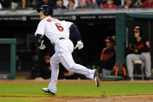 Aug 15, 2014; Cleveland, OH, USA; Cleveland Indians designated hitter Zach Walters (6) hits a home run during the fifth inning against the Baltimore Orioles at Progressive Field. Mandatory Credit: Ken Blaze-USA TODAY Sports