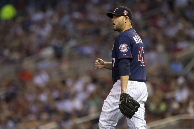 Aug 15, 2014; Minneapolis, MN, USA; Minnesota Twins starting pitcher Ricky Nolasco (47) looks on after giving up five runs in the fourth inning against the Kansas City Royals at Target Field. Mandatory Credit: Jesse Johnson-USA TODAY Sports