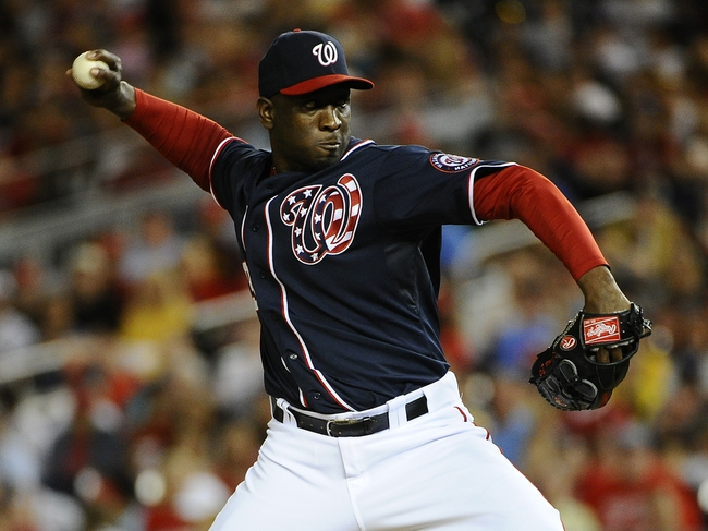 Aug 15, 2014; Washington, DC, USA; Washington Nationals relief pitcher Rafael Soriano (29) throws during the ninth inning against the Pittsburgh Pirates at Nationals Park. Mandatory Credit: Brad Mills-USA TODAY Sports