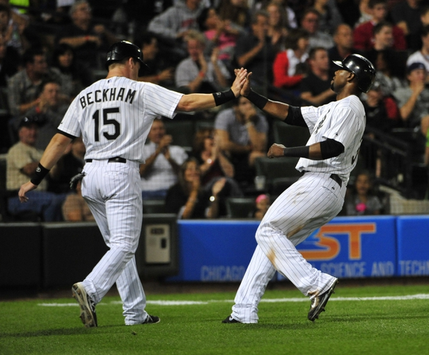 Aug 15, 2014; Chicago, IL, USA; Chicago White Sox second baseman Gordon Beckham (15) greets left fielder Alejandro De Aza (30) after scoring against the Toronto Blue Jays during the fifth inning at U.S Cellular Field. Mandatory Credit: David Banks-USA TODAY Sports