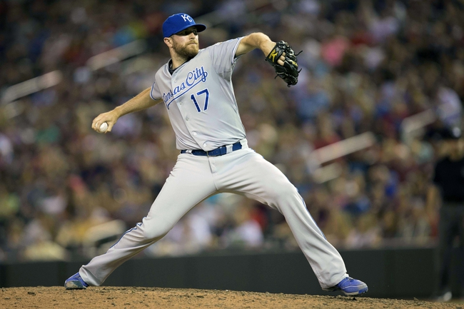 Aug 15, 2014; Minneapolis, MN, USA; Kansas City Royals relief pitcher Wade Davis (17) delivers a pitch in the eighth inning against the Minnesota Twins at Target Field. The Royals won 6-5. Mandatory Credit: Jesse Johnson-USA TODAY Sports