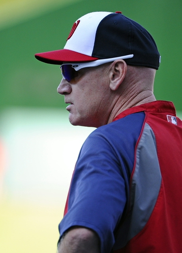 Aug 16, 2014; Washington, DC, USA; Washington Nationals manager Matt Williams (9) on the field before the game against the Pittsburgh Pirates at Nationals Park. Mandatory Credit: Brad Mills-USA TODAY Sports