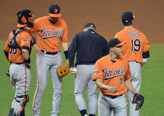 Aug 16, 2014; Cleveland, OH, USA; Baltimore Orioles starting pitcher Ubaldo Jimenez (31) walks off the mound during a pitching change in the fifth inning against the Cleveland Indians at Progressive Field. Mandatory Credit: David Richard-USA TODAY Sports