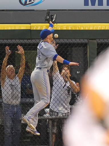 Aug 16, 2014; Chicago, IL, USA; Toronto Blue Jays right fielder Nolan Reimold (14) leaps for and misses an RBI single off the bat of Chicago White Sox right fielder Avisail Garcia (not pictured) during the sixth inning at U.S Cellular Field. Mandatory Credit: Dennis Wierzbicki-USA TODAY Sports