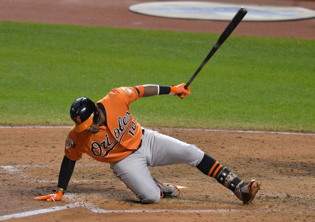 Aug 16, 2014; Cleveland, OH, USA; Baltimore Orioles center fielder Adam Jones (10) falls down after a swing in the ninth inning against the Cleveland Indians at Progressive Field. Mandatory Credit: David Richard-USA TODAY Sports