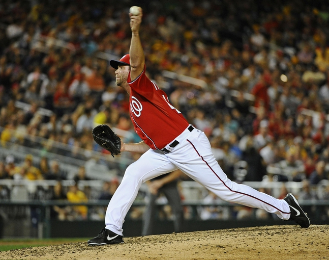Aug 16, 2014; Washington, DC, USA; Washington Nationals relief pitcher Matt Thornton (46) throws during the ninth inning against the Pittsburgh Pirates at Nationals Park. Mandatory Credit: Brad Mills-USA TODAY Sports