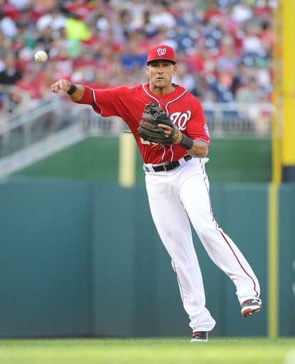 Aug 17, 2014; Washington, DC, USA; Washington Nationals shortstop Ian Desmond (20) throws out Pittsburgh Pirates left fielder Travis Snider (not pictured) during the third inning at Nationals Park. Mandatory Credit: Brad Mills-USA TODAY Sports