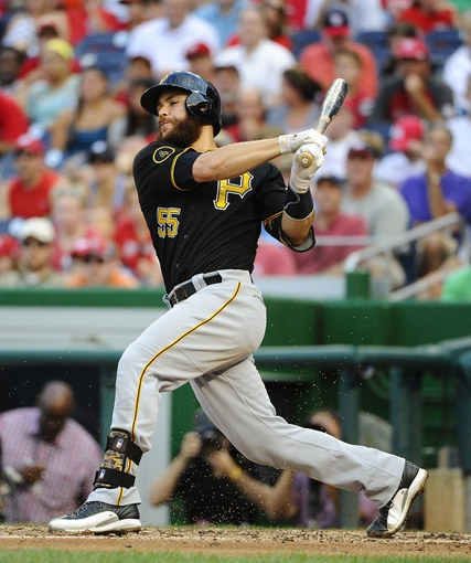 Aug 17, 2014; Washington, DC, USA; Pittsburgh Pirates catcher Russell Martin (55) hits an RBI single against the Washington Nationals during the sixth inning at Nationals Park. Mandatory Credit: Brad Mills-USA TODAY Sports
