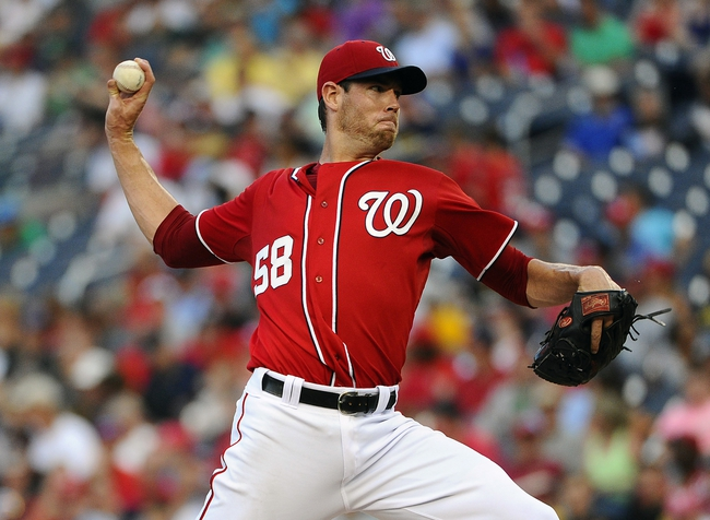 Aug 17, 2014; Washington, DC, USA; Washington Nationals starting pitcher Doug Fister (58) throws during the sixth inning against the Pittsburgh Pirates at Nationals Park. Mandatory Credit: Brad Mills-USA TODAY Sports