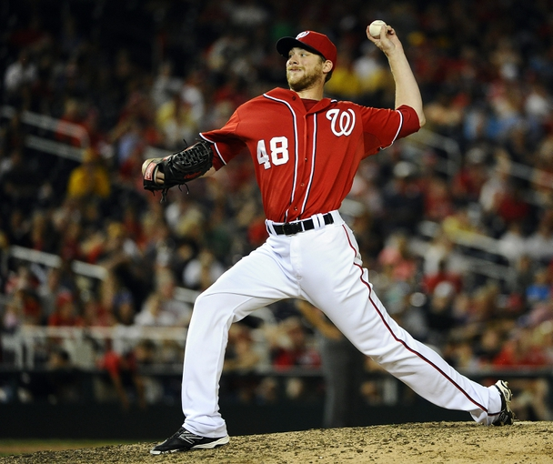 Aug 17, 2014; Washington, DC, USA; Washington Nationals relief pitcher Ross Detwiler (48) throws against the Pittsburgh Pirates during the eleventh inning at Nationals Park. The Nationals won 6-5. Mandatory Credit: Brad Mills-USA TODAY Sports