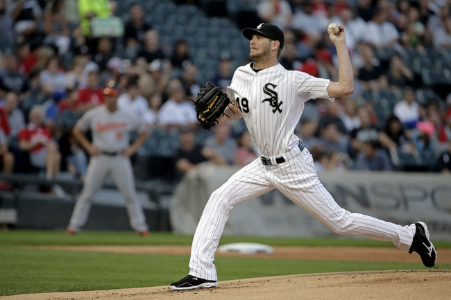 Aug 18, 2014; Chicago, IL, USA; Chicago White Sox starting pitcher Chris Sale (49) pitches against the Baltimore Orioles at U.S Cellular Field. Mandatory Credit: Jon Durr-USA TODAY Sports