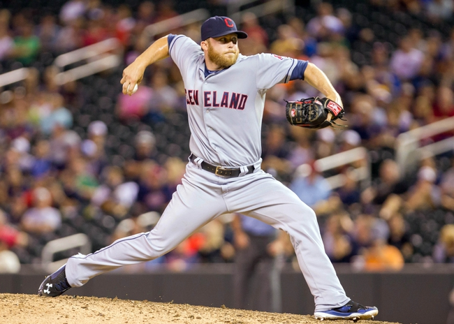 Aug 19, 2014; Minneapolis, MN, USA; Cleveland Indians relief pitcher Cody Allen (37) pitches in the ninth inning against the Minnesota Twins at Target Field. The Cleveland Indians win 7-5. Mandatory Credit: Brad Rempel-USA TODAY Sports