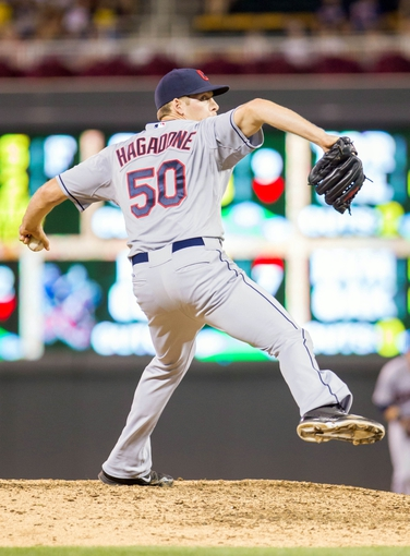Aug 19, 2014; Minneapolis, MN, USA; Cleveland Indians relief pitcher Nick Hagadone (50) pitches in the eighth inning against the Minnesota Twins at Target Field. The Cleveland Indians win 7-5. Mandatory Credit: Brad Rempel-USA TODAY Sports