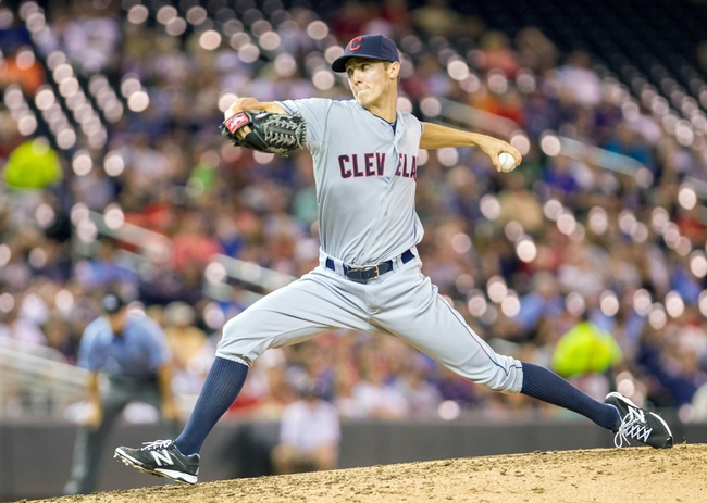 Aug 19, 2014; Minneapolis, MN, USA; Cleveland Indians relief pitcher Kyle Crockett (57) pitches in the fifth inning against the Minnesota Twins at Target Field. The Cleveland Indians win 7-5. Mandatory Credit: Brad Rempel-USA TODAY Sports