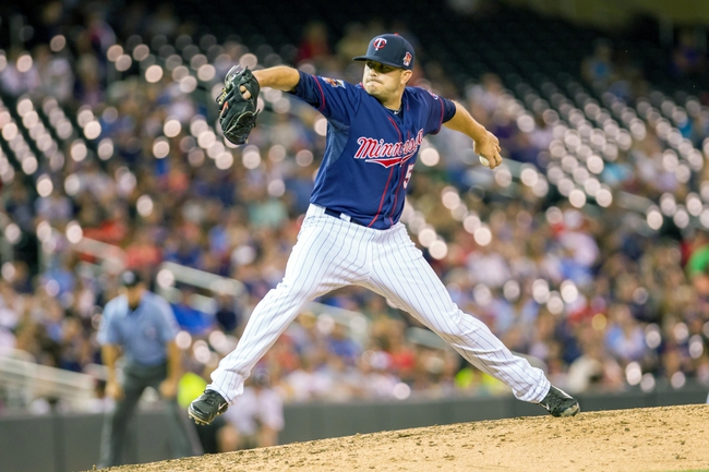 Aug 19, 2014; Minneapolis, MN, USA; Minnesota Twins relief pitcher Casey Fien (50) pitches in the sixth inning against the Cleveland Indians at Target Field. The Cleveland Indians win 7-5. Mandatory Credit: Brad Rempel-USA TODAY Sports