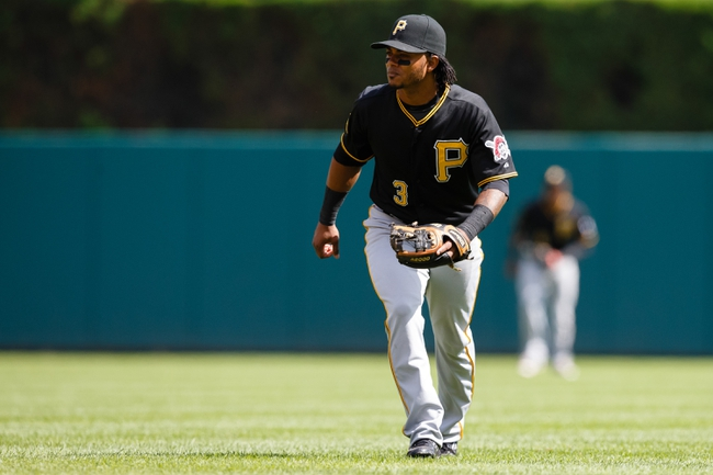 Aug 14, 2014; Detroit, MI, USA; Pittsburgh Pirates second baseman Michael Martinez (3) in the field against the Detroit Tigers at Comerica Park. Mandatory Credit: Rick Osentoski-USA TODAY Sports