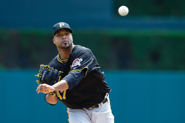 Aug 14, 2014; Detroit, MI, USA; Pittsburgh Pirates starting pitcher Francisco Liriano (47) warms up before the first inning against the Detroit Tigers at Comerica Park. Mandatory Credit: Rick Osentoski-USA TODAY Sports