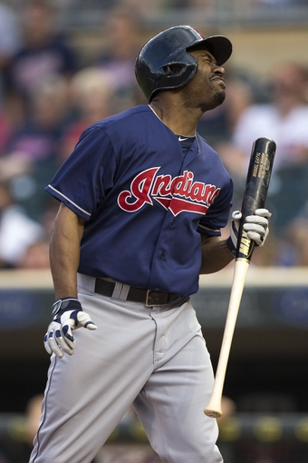 Aug 20, 2014; Minneapolis, MN, USA; Cleveland Indians center fielder Michael Bourn (24) reacts after striking out in the first inning against the Minnesota Twins at Target Field. Mandatory Credit: Jesse Johnson-USA TODAY Sports