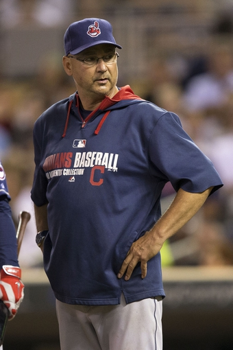 Aug 20, 2014; Minneapolis, MN, USA; Cleveland Indians manager Terry Francona looks on during the fifth inning against the Minnesota Twins at Target Field. Mandatory Credit: Jesse Johnson-USA TODAY Sports