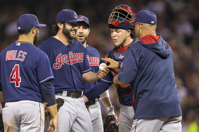 Aug 20, 2014; Minneapolis, MN, USA; Cleveland Indians manager Terry Francona pulls Cleveland Indians starting pitcher T.J. House (58) from the game in the sixth inning against the Minnesota Twins at Target Field. Mandatory Credit: Jesse Johnson-USA TODAY Sports