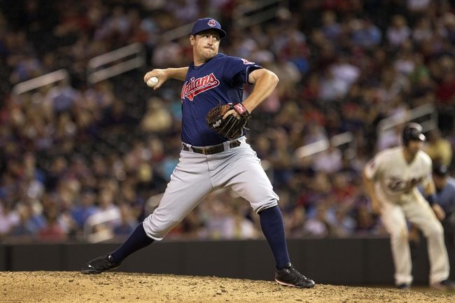 Aug 20, 2014; Minneapolis, MN, USA; Cleveland Indians relief pitcher Bryan Shaw (27) delivers a pitch in the eighth inning against the Minnesota Twins at Target Field. The Indians won 5-0. Mandatory Credit: Jesse Johnson-USA TODAY Sports