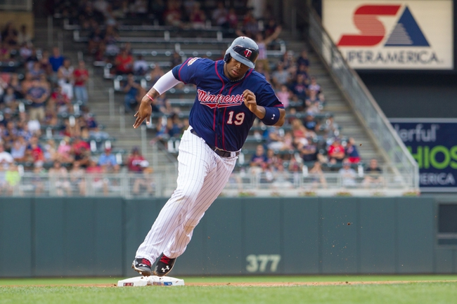 Aug 21, 2014; Minneapolis, MN, USA; Minnesota Twins designated hitter Kennys Vargas (19) rounds third in the sixth inning against the Cleveland Indians at Target Field. The Minnesota Twins win 4-1. Mandatory Credit: Brad Rempel-USA TODAY Sports