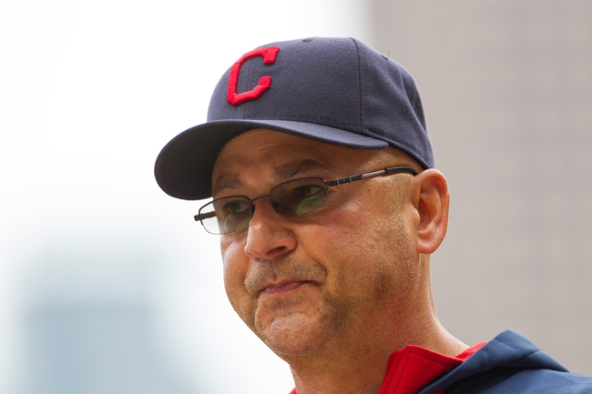 Aug 21, 2014; Minneapolis, MN, USA; Cleveland Indians manager Terry Francona walks back to the dugout in the sixth inning against the Minnesota Twins at Target Field. The Minnesota Twins win 4-1. Mandatory Credit: Brad Rempel-USA TODAY Sports