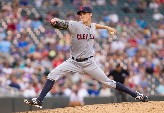 Aug 21, 2014; Minneapolis, MN, USA; Cleveland Indians relief pitcher Kyle Crockett (57) pitches in the eighth inning against the Minnesota Twins at Target Field. The Minnesota Twins win 4-1. Mandatory Credit: Brad Rempel-USA TODAY Sports