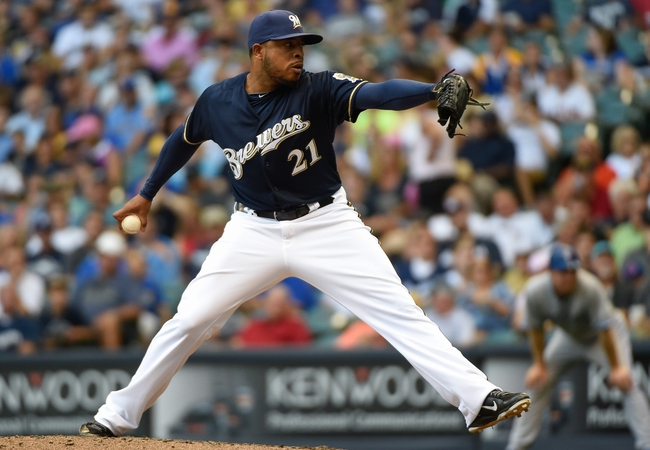 Aug 20, 2014; Milwaukee, WI, USA;  Milwaukee Brewers pitcher Jeremy Jeffress (21) during the game against the Toronto Blue Jays at Miller Park. Mandatory Credit: Benny Sieu-USA TODAY Sports