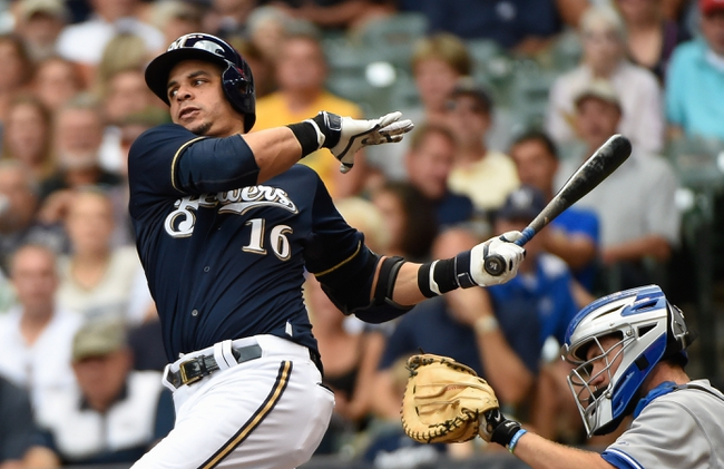Aug 20, 2014; Milwaukee, WI, USA; Milwaukee Brewers third baseman Aramis Ramirez (16) during the game against the Toronto Blue Jays at Miller Park. Mandatory Credit: Benny Sieu-USA TODAY Sports