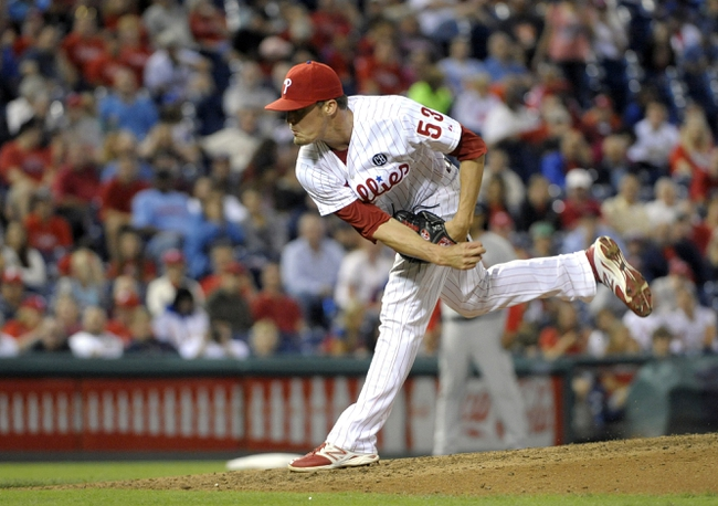 Aug 22, 2014; Philadelphia, PA, USA; Philadelphia Phillies relief pitcher Ken Giles (53) follows through on a pitch in the eighth inning against the St. Louis Cardinals at Citizens Bank Park. The Phillies defeated the Cardinals, 5-4. Mandatory Credit: Eric Hartline-USA TODAY Sports