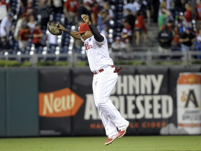 Aug 22, 2014; Philadelphia, PA, USA; Philadelphia Phillies right fielder Marlon Byrd (3) celebrates win against the St. Louis Cardinals at Citizens Bank Park. The Phillies defeated the Cardinals, 5-4. Mandatory Credit: Eric Hartline-USA TODAY Sports