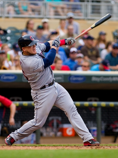 Aug 21, 2014; Minneapolis, MN, USA; Cleveland Indians catcher Roberto Perez (55) at bat in the against the Minnesota Twins at Target Field. Mandatory Credit: Brad Rempel-USA TODAY Sports