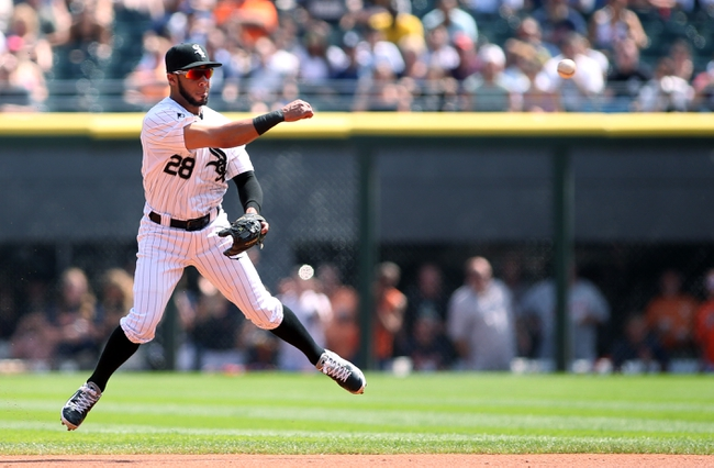Aug 31, 2014; Chicago, IL, USA; Chicago White Sox second baseman Leury Garcia is unable to throw out Detroit Tigers right fielder Torii Hunter (not pictured) on an infield single during the first inning at U.S Cellular Field. Mandatory Credit: Jerry Lai-USA TODAY Sports
