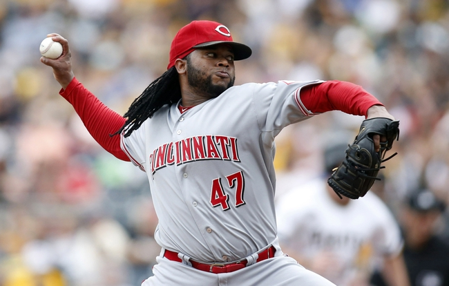 Aug 31, 2014; Pittsburgh, PA, USA; Cincinnati Reds starting pitcher Johnny Cueto (47) pitches against the Pittsburgh Pirates during the fourth inning at PNC Park. The Reds won 3-2. Mandatory Credit: Charles LeClaire-USA TODAY Sports