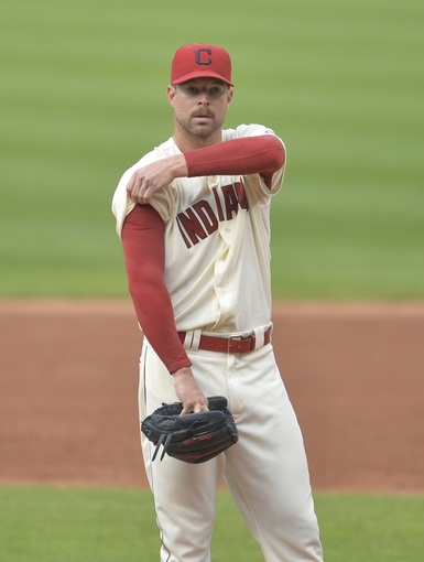 Sep 1, 2014; Cleveland, OH, USA; Cleveland Indians starting pitcher Corey Kluber (28) reacts in the third inning against the Detroit Tigers at Progressive Field. Mandatory Credit: David Richard-USA TODAY Sports