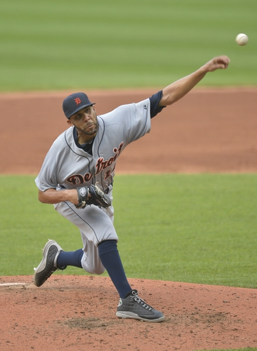 Sep 1, 2014; Cleveland, OH, USA; Detroit Tigers starting pitcher David Price (14) delivers in the third inning against the Cleveland Indians at Progressive Field. Mandatory Credit: David Richard-USA TODAY Sports