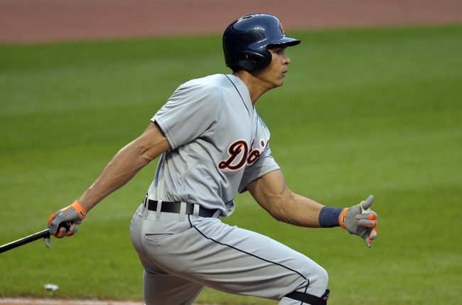 Sep 1, 2014; Cleveland, OH, USA; Detroit Tigers right fielder Steven Moya singles in the ninth inning against the Cleveland Indians at Progressive Field. Mandatory Credit: David Richard-USA TODAY Sports