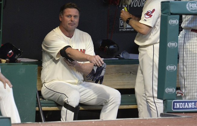Sep 1, 2014; Cleveland, OH, USA; Cleveland Indians pinch hitter Jason Giambi (72) sits in the dugout after striking out in the ninth inning against the Detroit Tigers at Progressive Field. Mandatory Credit: David Richard-USA TODAY Sports