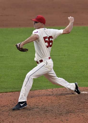 Sep 1, 2014; Cleveland, OH, USA; Cleveland Indians relief pitcher Bryan Price delivers in the eighth inning against the Detroit Tigers at Progressive Field. Mandatory Credit: David Richard-USA TODAY Sports