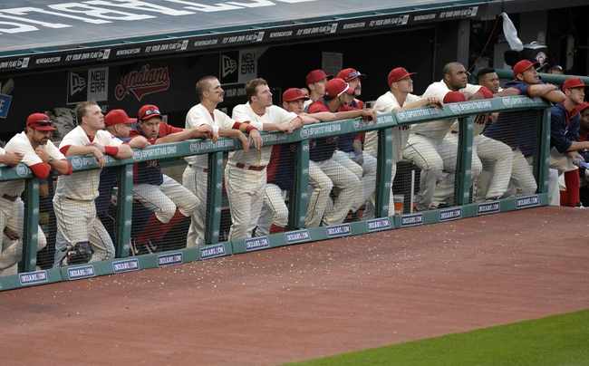 Sep 1, 2014; Cleveland, OH, USA; The Cleveland Indians watch the game in the eighth inning against the Detroit Tigers at Progressive Field. Mandatory Credit: David Richard-USA TODAY Sports