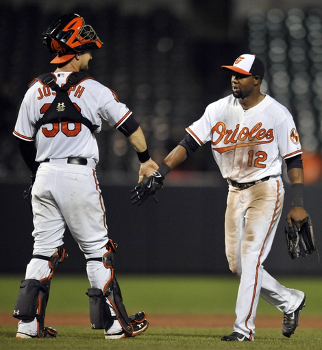 Sep 2, 2014; Baltimore, MD, USA; Baltimore Orioles teammates Caleb Joseph (36) and Alejandro De Aza (12) celebrate after a game against the Cincinnati Reds at Oriole Park at Camden Yards. The Orioles defeated the Reds 5-4. Mandatory Credit: Joy R. Absalon-USA TODAY Sports