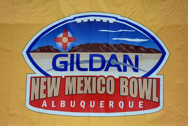 Dec. 15, 2012; Albuquerque, NM, USA; Detailed view of the Gildan New Mexico Bowl logo on the sidelines during the game between the Arizona Wildcats against the Nevada Wolf Pack in the 2012 New Mexico Bowl at University Stadium. Arizona defeated Nevada 49-48. Mandatory Credit: Mark J. Rebilas-USA TODAY Sports