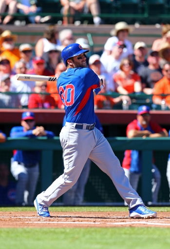 Mar 10, 2014; Scottsdale, AZ, USA; Chicago Cubs first baseman Mike Olt against the San Francisco Giants at Scottsdale Stadium. Mandatory Credit: Mark J. Rebilas-USA TODAY Sports