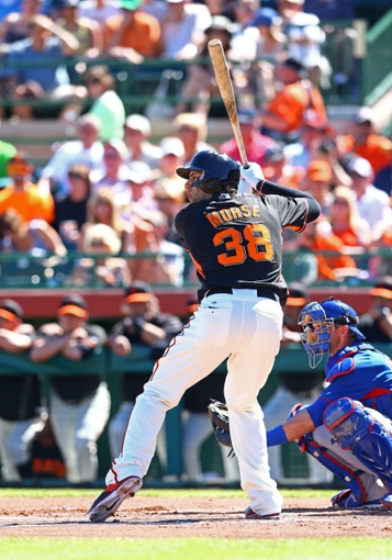 Mar 10, 2014; Scottsdale, AZ, USA; San Francisco Giants outfielder Michael Morse against the Chicago Cubs at Scottsdale Stadium. Mandatory Credit: Mark J. Rebilas-USA TODAY Sports