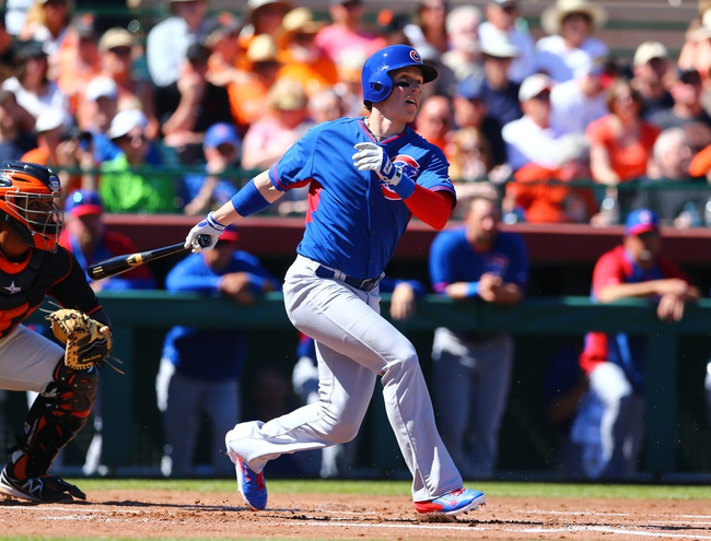 Mar 10, 2014; Scottsdale, AZ, USA; Chicago Cubs outfielder Chris Coghlan against the San Francisco Giants at Scottsdale Stadium. Mandatory Credit: Mark J. Rebilas-USA TODAY Sports